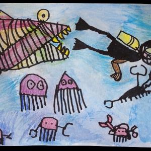 Matěj namaloval Život ve vodě do soutěže.