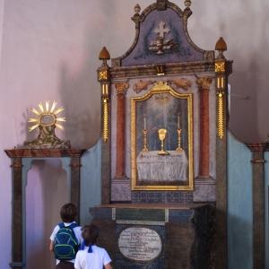 Dřevěné originální vybavení, kostel v Humpolci.
